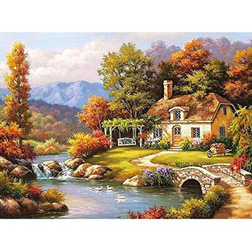 AmyGline Malen Nach Zahlen Art DIY Handgemalt Ölgemälde Landschaft DIY Oil Painting auf Leinwand für Erwachsene Kinder Geschenk Home Haus Dekor