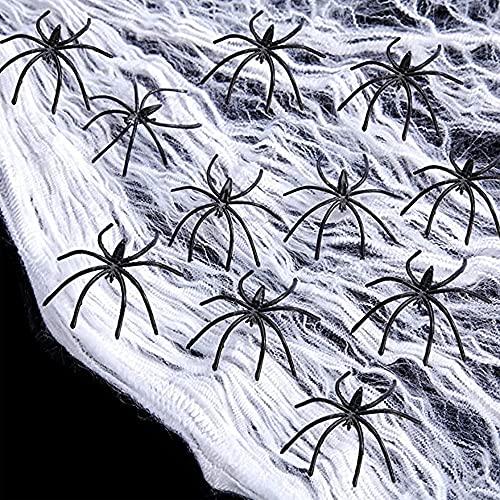 Oledank Red de telaraña para decoración de Halloween, 300 g, 300 g y 60 arañas de terror negras para fiestas de Halloween