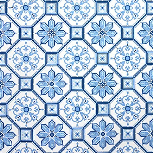 Peel and Stick Wallpaper Blue White Contact Paper White Blue Wallpaper Removable Bathroom Flower product image