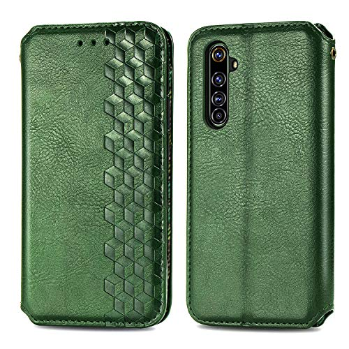 Trugox Handyhülle für Realme X50 Pro 5G Hülle Leder Klapphülle mit Kartenfach Ständer Flip Hülle für Oppo Realme X50 Pro 5G - TRSDA120686 Grün