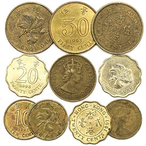 10 Monedas Antiguas de Hong Kong. Monedas de Asia meridional y la región administrativa Especial de República Popular de China. COLECCIÓN Monedas CENTAVOS