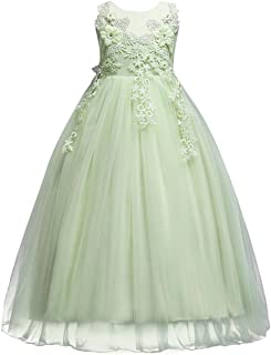 OwlFay Big Girls Lace Flower Wedding Bridesmaid Formal Party Tulle Dresses Long Pageant Communion Prom Floor Length Ball Gown
