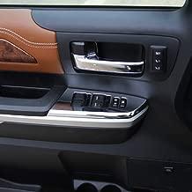 Justautotrim 2PCS Chrome Interior Front Door Window Switch Panel Cover Trim for Toyota Tundra 2014 2015 2016 2017 2018 2019