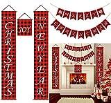 Buffalo Plaid Weihnachtsdekoration für Zuhause, Frohe Weihnachten Banner, MERRY CHRISTMAS & HAPPY NEW YEAR Veranda Zeichen Kits für Kamin Haustür Baum Wand Weihnachtsdekoration