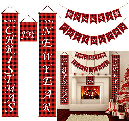 PIXHOTUL Christmas Buffalo Plaid Decorations for Home, Merry Christmas Banner, Merry Christmas and Happy New Year Porch Signs Kits for Fireplace Front Door Tree Wall Christmas Decoration