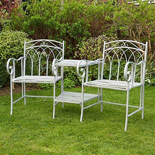 BFW Tulip Grey Garden Bench Duo Love Seat Companion Chair Metal