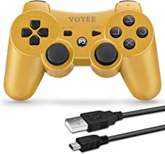 VOYEE PS3 Controller Wireless - Rechargable Remote Control/Gamepad with Charging Cable for Sony Playstation 3(Gold)