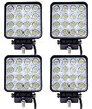 Miracle LED 48W projecteurs spots idéal pour véhicule tout-terrain, chantier, phares anti-brouillard de camion, Jeep, bateau, 4x4, 12V-24V (4 pièces)