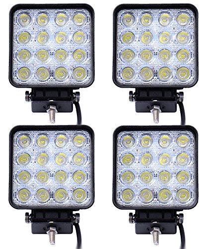 Leetop 4X 48 vatios 16 1616 Offroad LED de luz de la lámpara de Trabajo LED Luces LED proyector de Reflector de luz de Trabajo SUV, UTV, ATV LED Faro Offroad para Faros Delanteros 12-24V