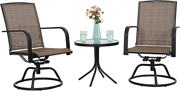 PHI VILLA 3 PC Swivel Chair Set Patio Bistro Set With 2 Chairs And 1 Table Brown