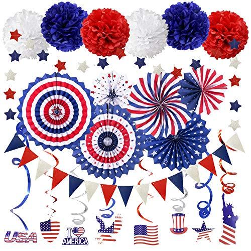 ZERODECO Party Supplies, Marineblau Rot Papier Fans Set Pom Poms Star Streamer Hängende Strudel USA Flagge für 4. Juli Tag Patriotische Dekorationen Geburtstag Hochzeit Abschluss Unabhängigkeitstag