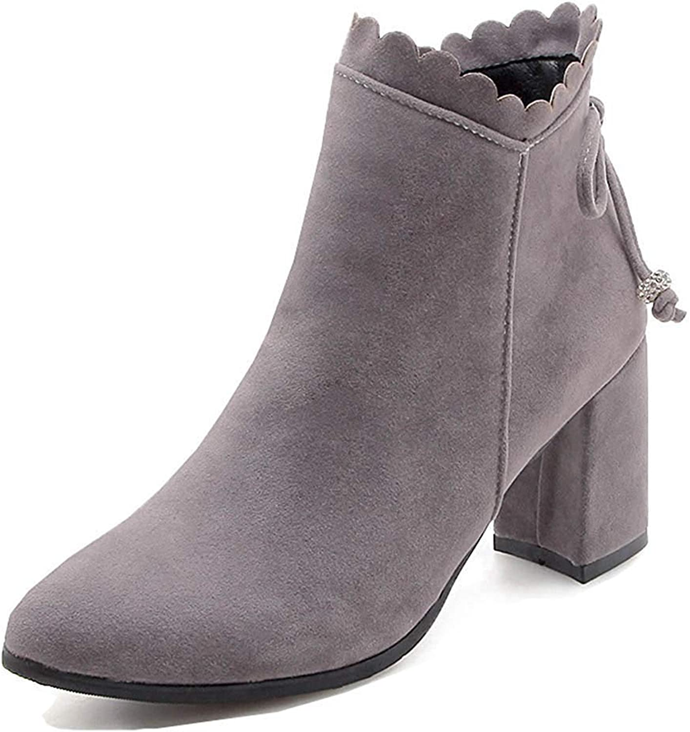 Unm Women's Elegant Pointy Toe Booties Chunky High Heel Inside Zip Up Dress Ankle Boots with Bows