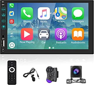 $88 » Double Din Car Stereo Compatible with Apple Carplay and Android Auto, Hikity 7 Inch Car Radio Touchscreen Mirror Link FM B...