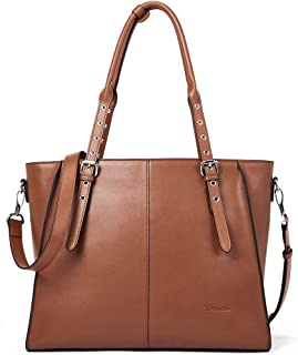 "BOSTANTEN Leather Tote Handbag 15.6 inch Laptop Shoulder Briefcase Cross-Body Work Purses for Women Brown Brown Medium 15.74""(L)*11.41""(H)*4.33""(W)"
