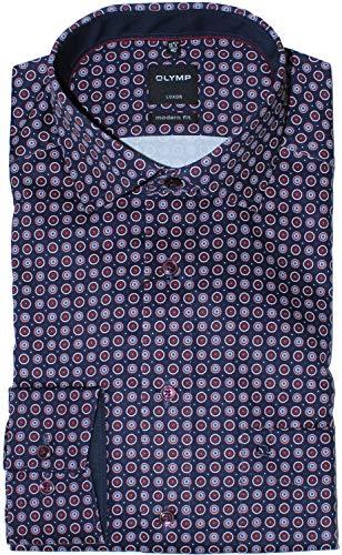 OLYMP Luxor modern fit Hemd extra Langer Arm Muster rot Größe 45