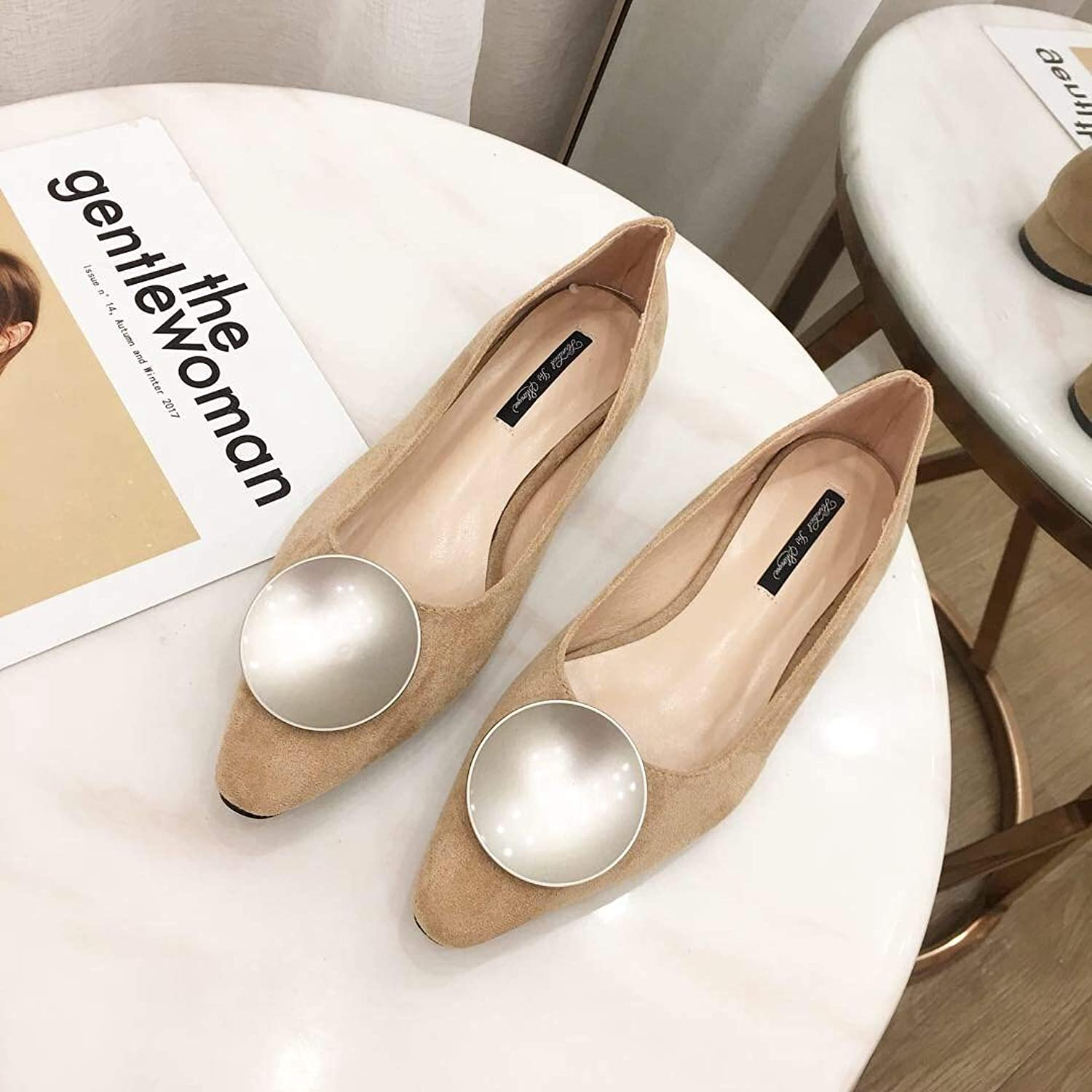 DNJKSA Spring New Women's shoes 2019 Korean Suede Metal Button Sandals Shallow Low-Heeled Work Flat-Soled shoes