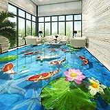 Rollo de suelo de linóleo Pegatinas de suelo personalizadas 3D Estéreo Grava Lotus Carp Azulejo de...