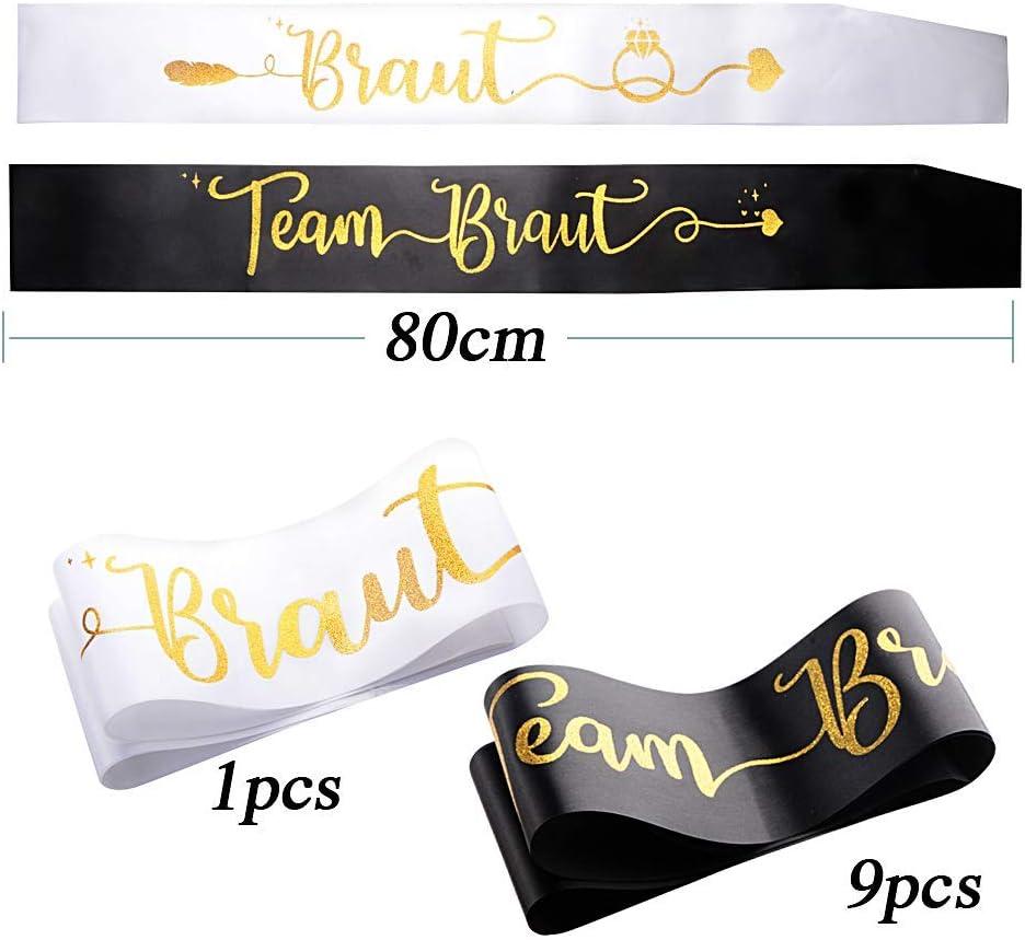 YXZQ Duitse sjerpen - Pack van 1 witte bruid Braut sjerpen + Pack van 9 groene bruidsmeisjes Team Braut sjerpen Zwart