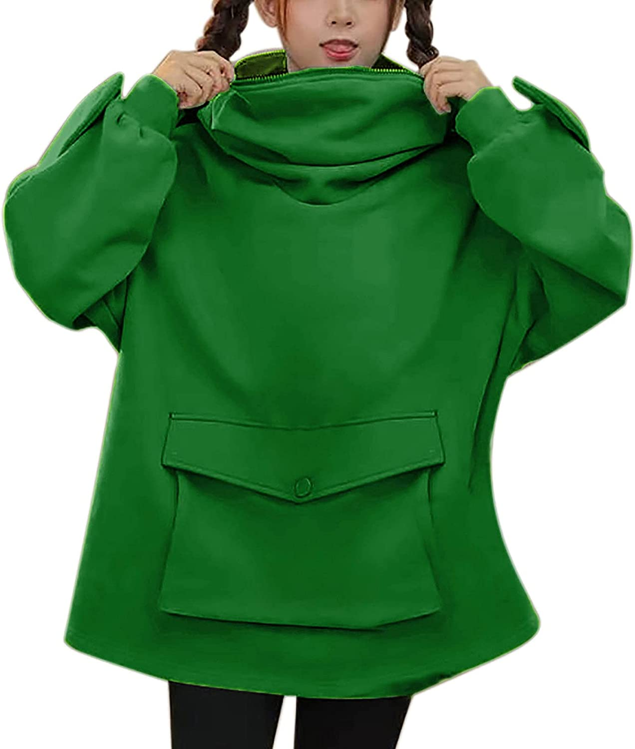 Hotkey Sweatshirts for Women, Women's Cute Frog Hooded with Large Front Pocket Long Sleeve Pullover Zipper Hoodies