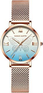 Long Story Womens Quartz Watch Ladies Fashion Round Butterfly Waterproof Watch Stainless Steel Strap