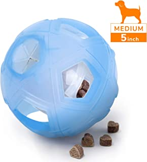 "LumoLeaf Dog Treat Ball, 5"" Interactive IQ Treat Dispensing Ball Toy with Adjustable Difficulty Setting for Small to Medium Dogs and Cats"