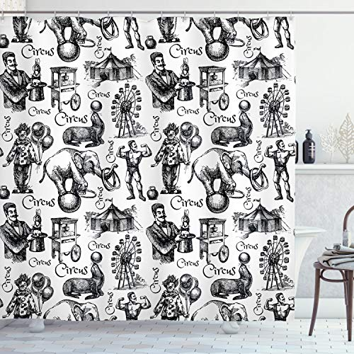 """Ambesonne Modern Shower Curtain, Circus Words and Themed Continous Pattern with Magician Baloons Phrase Artwork, Cloth Fabric Bathroom Decor Set with Hooks, 70"""" Long, Black and White"""