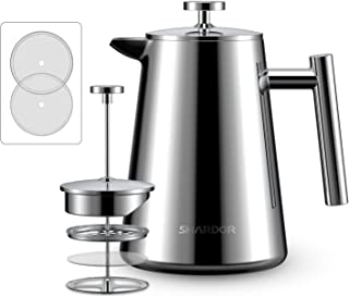 SHARDOR French Press Coffee Maker Stainless Steel, Double-Layer Micron-Sized Filter, Vacuum Cup Wall,1000ml