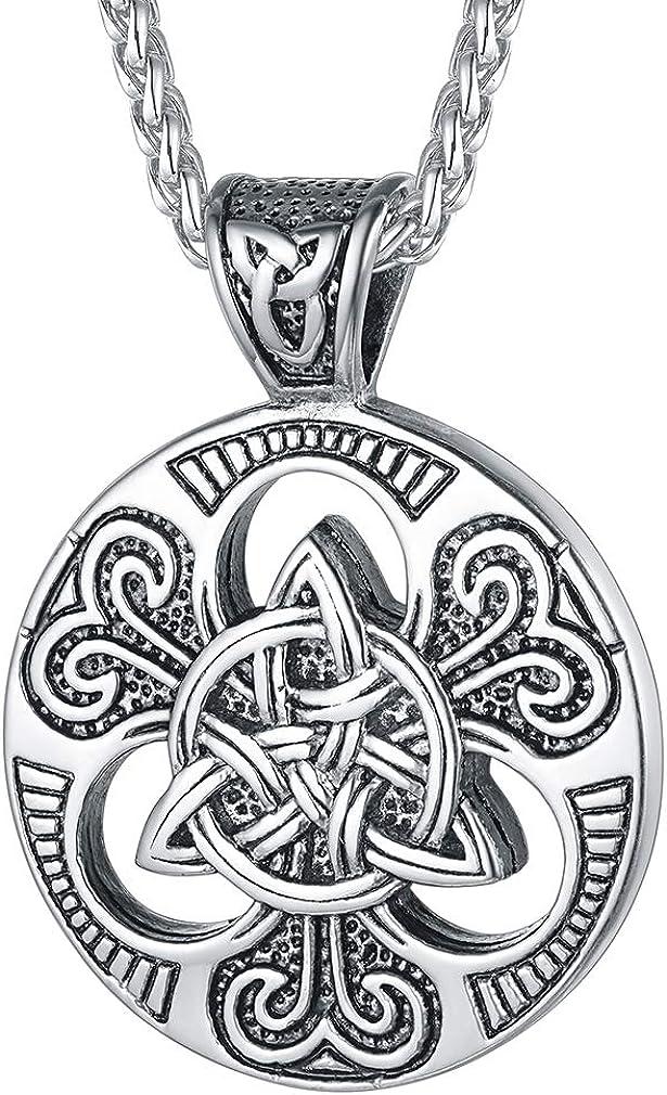 FaithHeart Brújula Valknut Collar Vikingo Nórdico Acero Inoxidable 316L para Hombres y Mujeres Joyería Morales de Talismán de Protección para Familias