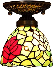Tiffany Style Ceiling Light,Stained Glass Rose Shade Flush Mount Ceiling Lamp,Vintage Ceiling Lighting Fixtures for Living...