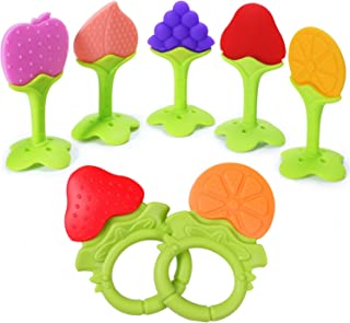 Baby Teether Toys Silicone Teething Toys Fruit Shape Infants Newborn Babies and Toddlers Silicone Teether Toys Set Soothe and Massage Gums 7 Pieces