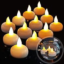 Diyife 12 LED Bougie Flottante sans Flammes, Batterie éTanche LumièRes De Thé LED Vacillantes Flotter sur l'eau pour Mariage, FêTe, Centre De Table, Piscine Et Spa (Blanc Chaud)