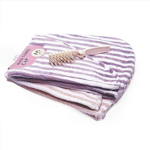 VBAGUK Microfiber Hair Drying Wrap Towel, Super Absorbent Fast Dry Twist Head Towel for Wet Hair 2 Pack, for Women and Girls, Bonus Folding Comb