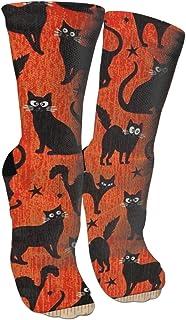 靴下 抗菌防臭 ソックス ダークブラック猫オレンジスポーツスポーツソックス、旅行&フライトソックス、塗装アートファニーソックス30 cmロングソックス