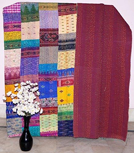 Online Indian Silk Kantha Quilts Vintage Baumwolle Bett Bezug Überwurf Old Sari Made Sortiert Patches Made Rally ganze Decke Unikat Stück handgefertigt Art 228,6x 274,3cm Big Bazar