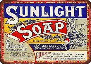NNHG Tin Sign 8x12 inches 1921 Sunlight Soap Reproduction Metal Tin Sign