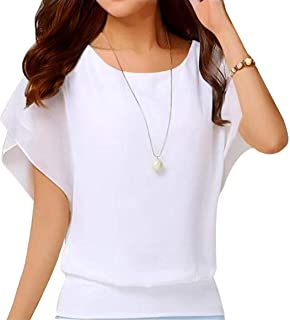 Neineiwu Women's Loose Casual Short Sleeve Chiffon Top...