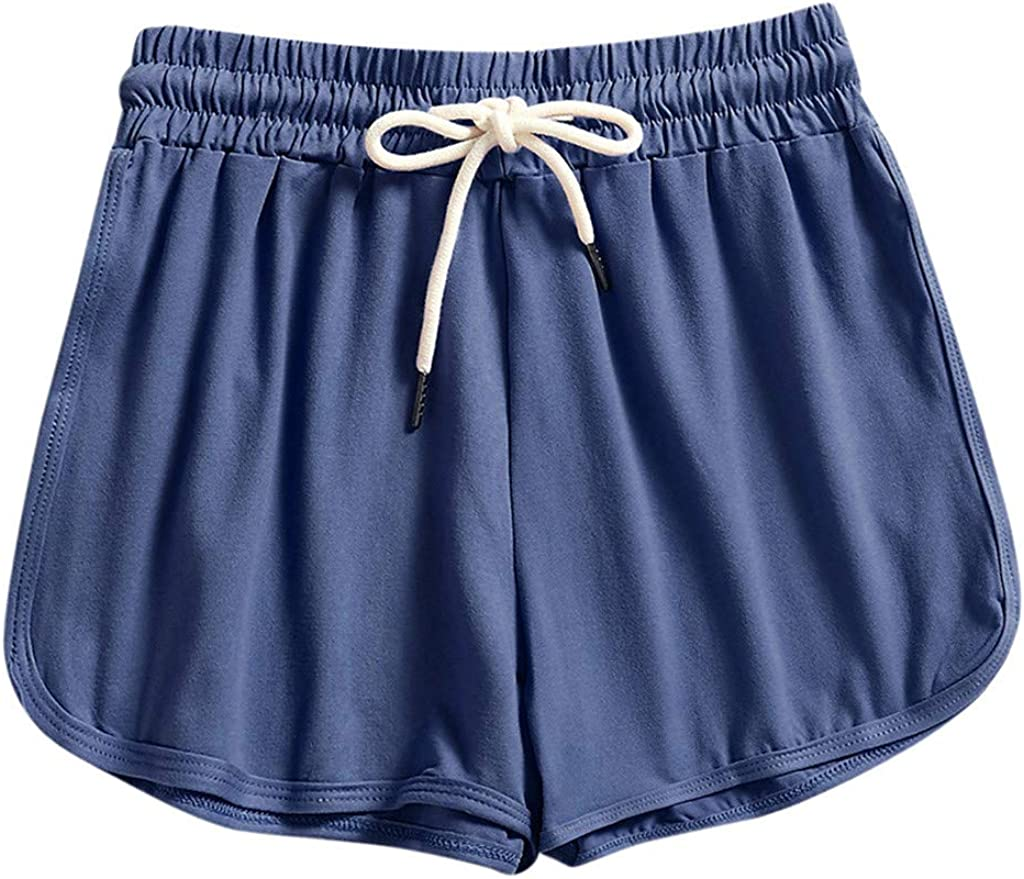 MASZONE Womens Shorts for Summer, Elastic Shorts for Women Summer Sloid Color Casual Comfy Beach Shorts Athletic Shorts