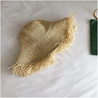 Hats Summer Sunscreen Sunscreen Hat Lady Raw Edge Breathable Straw Hat Fashion (Color : Beige, Size : 56-58cm)