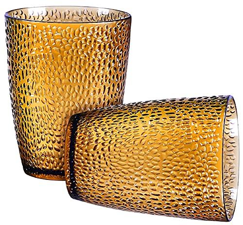 Lvjkes vasos de agua, Taza de acrílico, 2 tazas de agua acrílicas de material acrílico a prueba de caídas y duraderas para restaurante, oficina, hogar (ámbar)