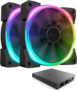 Nzxt AER RGB 2 - 2-Pack of 120mm RGB PWM Fans with HUE 2 Lighting Controller - Advanced Lighting Customization - LED RGB PWM Fans - Winglet Tips - Fluid Dynamic Bearing - PC Case Fan
