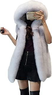 Cool&A Women's Vest Sleeveless Coat Faux Fur Vest Warm Winter Jacket Fur Jacket with Hat