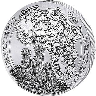 2016 RW African Ounce MEERKAT 1 Oz Silver Wildlife Coin in Mint Sealed Packaging - Rwanda 50 Francs BU