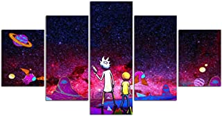 Printing Canvas Wall Art 5 Panels Posters Painting Rick and Morty Pictures for Bedroom Home Decor Artwork Framed