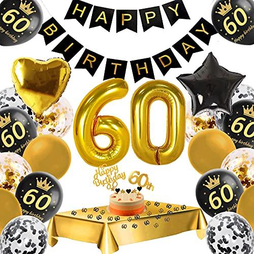 60. Geburtstag Dekoration,60 Geburtstag Deko Schwarzes Gold, Konfetti Luftballons Number Folienballon 60 AluminiumfolieBallon,Happy Birthday Banner,Geburtstagsdeko 60. Jahre für Mann Frau