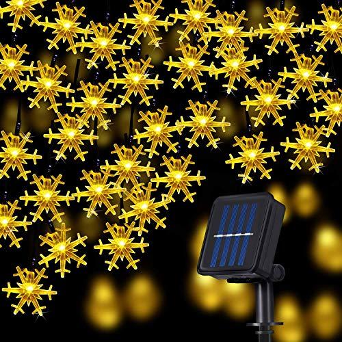 QULONG Luces solares para jardín, Copo de Nieve, Luces solares, 50 LED, 23 pies, 8 Modos, Impermeables, con energía Solar, Luces de Hadas para Patio, jardín, hogar, árbol de Vacaciones al Aire libr