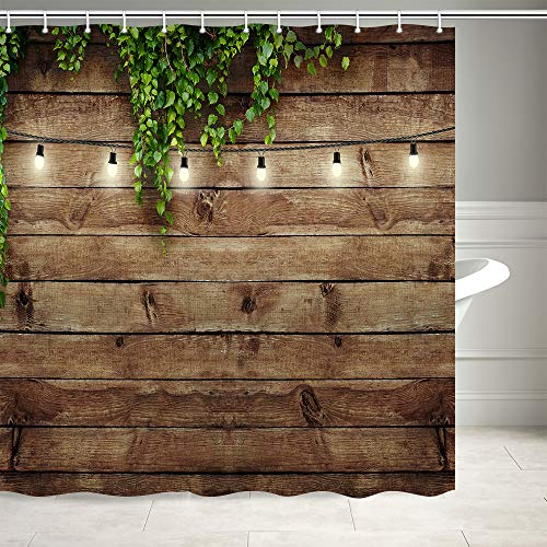 KOTOM Vintage Rustic Wooden Board Door Shower Curtain, Green Leaves on Farmhouse Country Wood Plank, Waterproof Polyester Fabric Countryside Life Bathroom Curtain with12PCS Hooks, 69X70IN