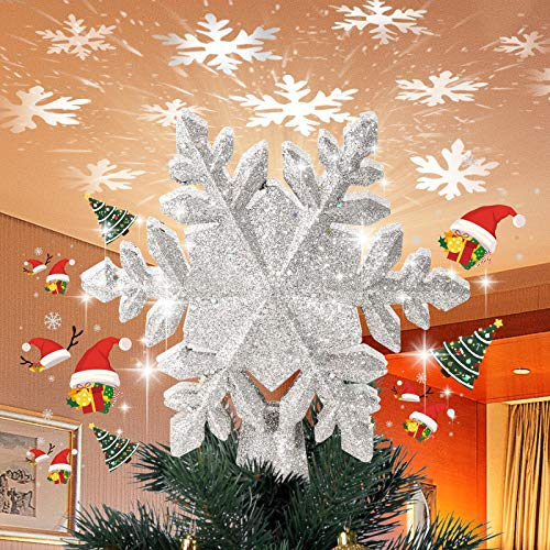 Onlyesh Christmas Tree Topper Lighted Snowflake Tree Topper, Star Tree Topper with LED Rotating Snowflake Projector, 3D Xmas Tree Topper for Christmas Tree Decorations, Silver