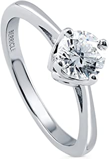 Rhodium Plated Sterling Silver Solitaire Engagement Ring Made with Swarovski Zirconia Round 0.84 CTW