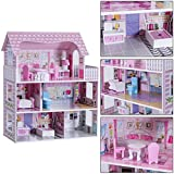 Costway Maison de Poupéeen Bois Jeu d'Imitation de Meuble pour Enfants 3 Etages et 5 Pièces d'une Vrai Maison avec Accessoires Inclus, 61 x 26,5 x 71 cm Rose