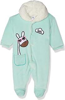 Papillon Giraffe Embroidery Front Pocket Fur Neck Jumpsuit for Girls - Mint, Newborns